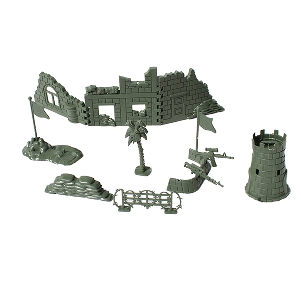 Plastic Army Base Set World War II Army Men Solider Accessories Blindage Blockhouse Sand Scene Model Toy
