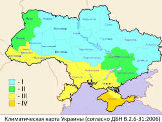 Climate map of Ukraine for calculating the thickness of the insulation of facades in Kharkov